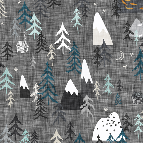 Forest Peaks (charcoal) fabric by nouveau_bohemian on Spoonflower - custom fabric