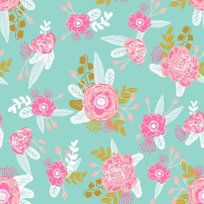 fox florals mint painted floral fabric nursery baby mint and pink floral fabric