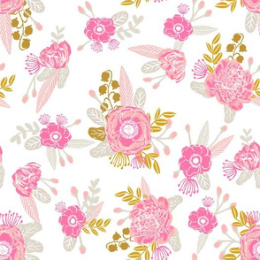 fox florals cute floral pink and yellow fabric cute painted flowers cute florals fabric