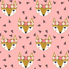 fox head florals cute fox head design baby nursery cute girls pink fabric