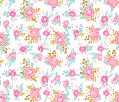 florals coordinate fox flowers fabric cute floral coordinating design fabric by charlottewinter on Spoonflower - custom fabric