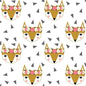 fox head florals - cute girls fox head design cute fox design