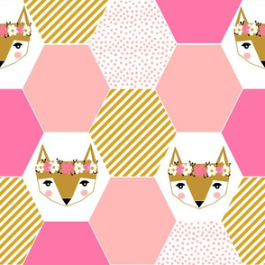 hexie quilt fox hexagon quilt cheater quilt pink fox fabric cute quilt pink fabric