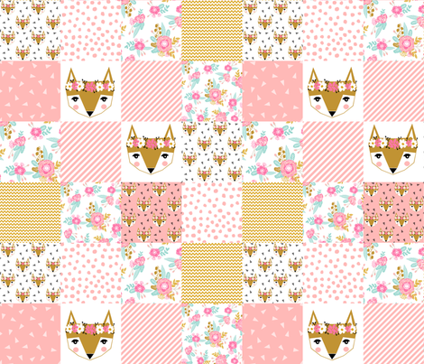 fox florals patchwork cheater quilt fox fabric floral fabric cute flower pink flowers cute pink fabric fabric by charlottewinter on Spoonflower - custom fabric