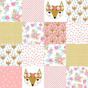 fox florals patchwork cheater quilt fox fabric floral fabric cute flower pink flowers cute pink fabric