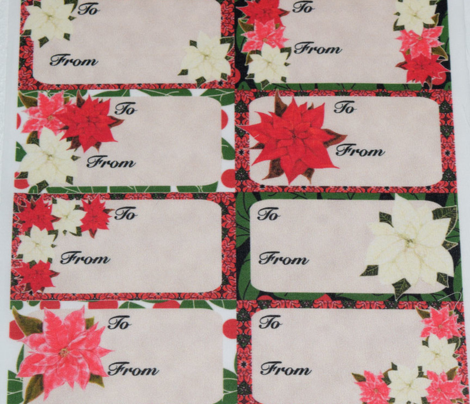 Poinsettia Christmas Gift Tags