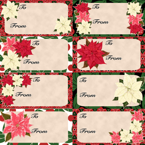 Poinsettia Christmas Gift Tags fabric by eclectic_house on Spoonflower - custom fabric