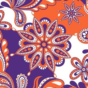 Orange and purple team color Paisley Mandala