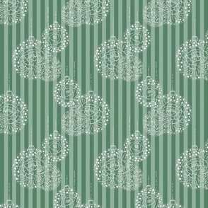 Floral bauble on green stripe