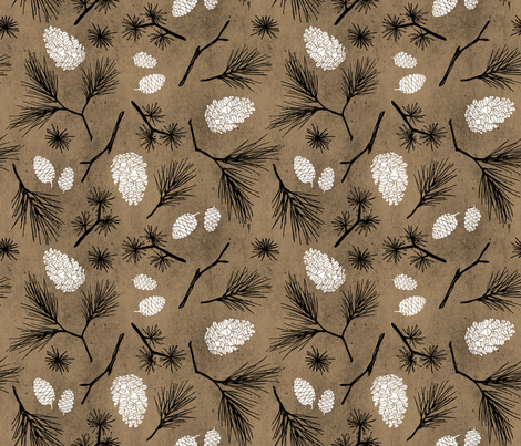 Pinecones on Rustic Brown Paper fabric by pinky_wittingslow on Spoonflower - custom fabric