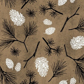 Pinecones on Rustic Brown Paper