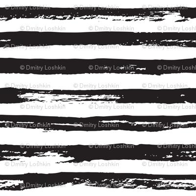 Paint Brush Grunge Stripes Black And White Fabric