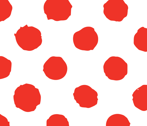 Red Polka Dot On White Grunge Paint Brush Fabric
