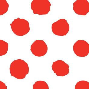 Red polka dot on white grunge paint brush