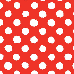 White polka dot on red grunge paint brush