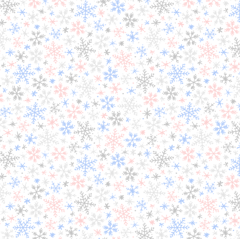 Snowfall (rose quartz and serenity light small) fabric by robyriker on Spoonflower - custom fabric