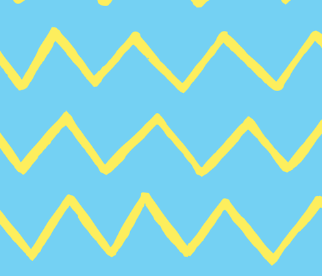 Marker yellow zig-zag lines on blue fabric - dmitriylo - Spoonflower