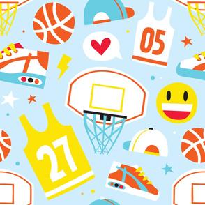 Basketball cartoon pattern blue