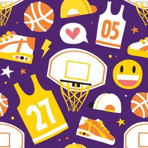 Basketball cartoon pattern purple