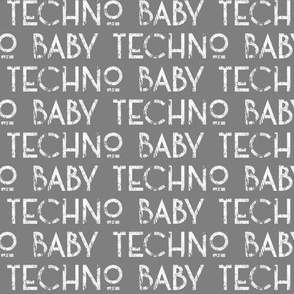 techno baby text dark
