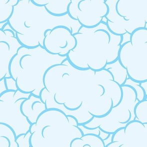Pop art speech bubble blue clouds