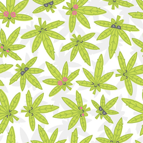 Kawaii weed on white