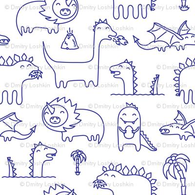 Ink cute kawaii dinosaurs