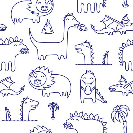Ink cute kawaii dinosaurs  fabric by dmitriylo on Spoonflower - custom fabric