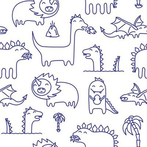 Ink cute kawaii dinosaurs