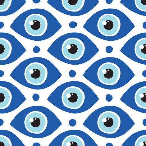 All eyes on me blue fabric by dmitriylo on Spoonflower - custom fabric
