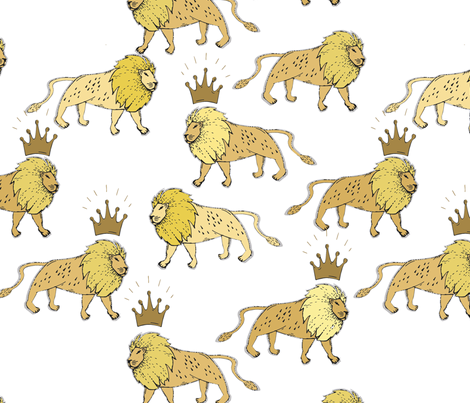 leo_lion_white_and_gold fabric by holli_zollinger on Spoonflower - custom fabric