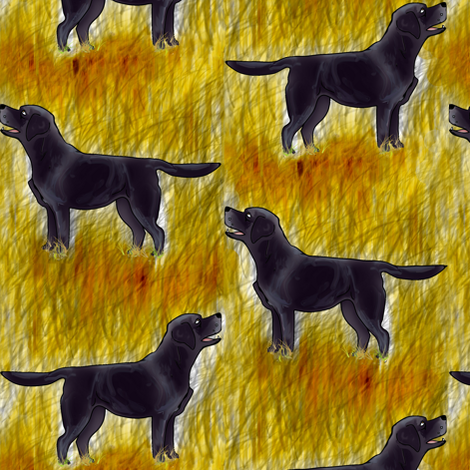 Black Labrador in golden grass fabric by eclectic_house on Spoonflower - custom fabric