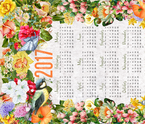 2017 Calendar Tea Towel ©Linda Christiansen fabric by lindac17 on Spoonflower - custom fabric