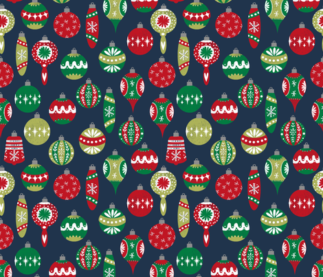 vintage christmas ornaments fabric // retro christmas fabric cute red and green fabrics andrea lauren design andrea lauren fabric fabric by andrea_lauren on Spoonflower - custom fabric