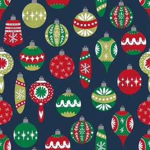 vintage christmas ornaments fabric // retro christmas fabric cute red and green fabrics andrea lauren design andrea lauren fabric