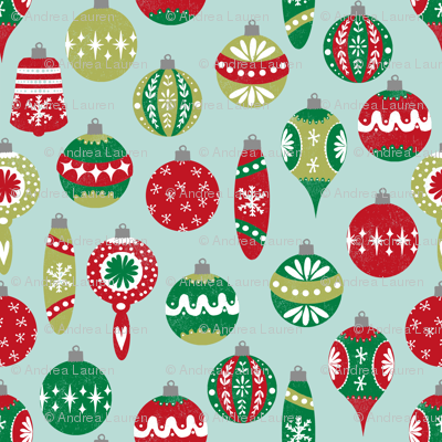 Vintage Christmas Ornaments Fabric // Red And Green Christmas Fabric Vintage  Retro Christmas Ornaments Xmas
