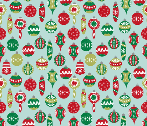 vintage christmas ornaments fabric // red and green christmas ...
