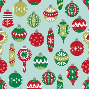 vintage christmas ornaments fabric // red and green christmas fabric vintage retro christmas ornaments xmas holiday fabric