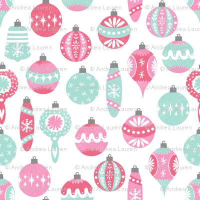 Pastel Christmas Ornaments.Vintage Christmas Ornaments Fabric Vintage Pastel Pink