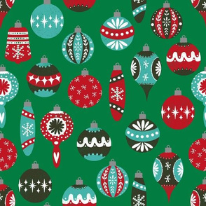 christmas vintage ornaments fabric // red and green christmas ornaments red and green vintage fabric