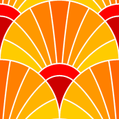 art deco fan scale : yellow orange red
