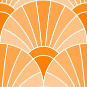 art deco fan scale : orange tangerine peach