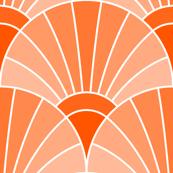 art deco fan scale : vermilion orange salmon coral