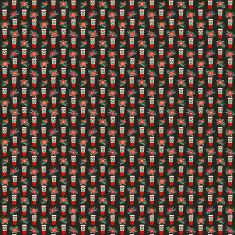 mini christmas print - lattes tiny print latte peppermint christmas cute christmas fabric latte coffee fabric by charlottewinter on Spoonflower - custom fabric