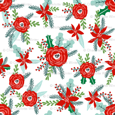 tiny christmas florals mini micro print floral poinsettia christmas floral print