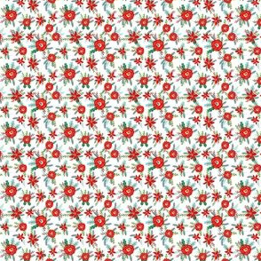 tiny christmas florals mini micro print floral poinsettia christmas floral print