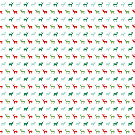 tiny christmas fabric cute red and green deer fabrics fabric by charlottewinter on Spoonflower - custom fabric