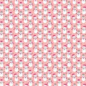 chrismtas pink snowmen micro print cute girls christmas fabric winter pink christmas fabric