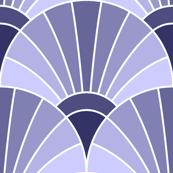 art deco fan scale : lavender indigo blue