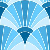 art deco fan scale : sky prussian blue